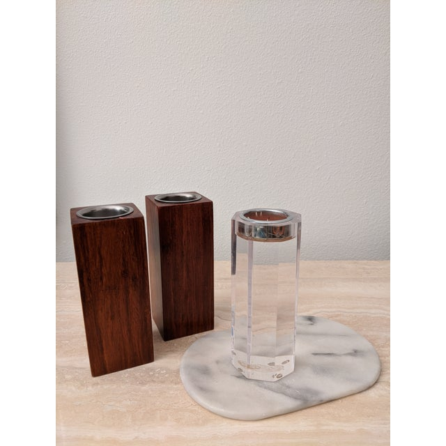 Organic Modernist Minimalist Wood Block Tealights, a Pair For Sale - Image 9 of 10
