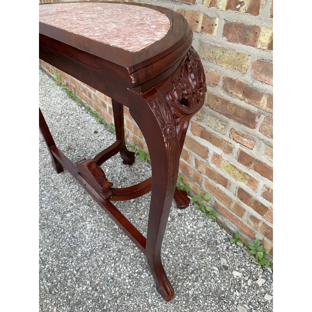 20th Century Traditional Marble Top and Carved Mahogany Demilune Table For Sale In Chicago - Image 6 of 13