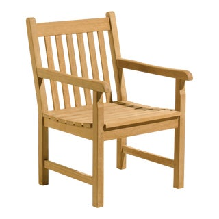 Classic Teak Outdoor Arm Chair, Natural For Sale