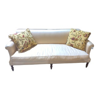 Rudin Linen Peach Sofa With Two Floral Pillows For Sale