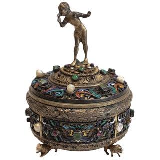 Antique Austrian 800 Silver Enamel and Gem Encrusted Figural Box, Emerald Pearls For Sale