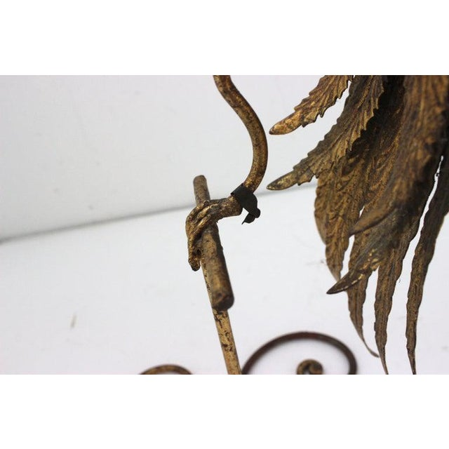 Gold Mid-Century Modern Plumed Bird Figure in Florentine Gold Leaf For Sale - Image 8 of 13