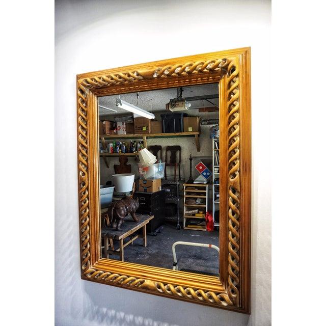 Brown Vintage Mid-Century English Carved Walnut Barley Twist Mirror For Sale - Image 8 of 13
