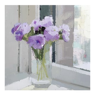 """Lisa Breslow """"Purple Flowers"""" Floral Still Life Painting on Panel For Sale"""