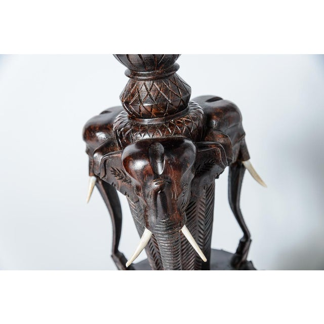 Anglo Indian Hand Carved Wood Elephant Lamps, A-Pair For Sale In West Palm - Image 6 of 10