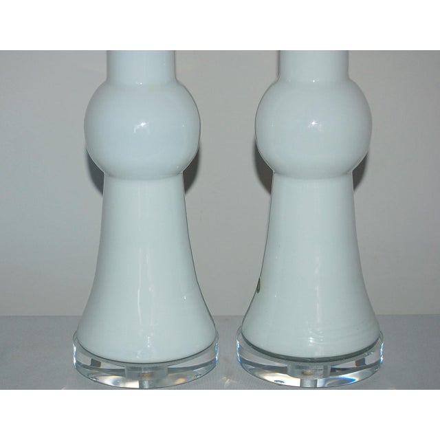1960s Vintage Murano Glass Table Lamps White For Sale - Image 5 of 9