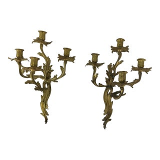 Louis XV Style Bronze Dore Four Armed Sconces - a Pair