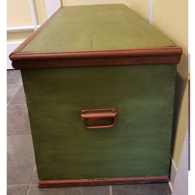 Metal 19th Century Antique Green Swedish Trunk For Sale - Image 7 of 9
