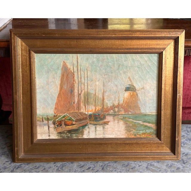 19th Century Dutch Oil Painting of a Canal Scene in the Polders, Framed For Sale - Image 11 of 11