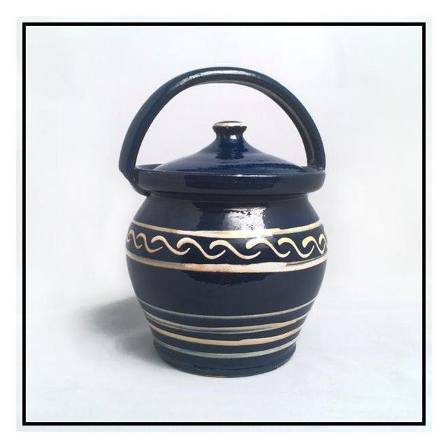 Ceramic Vintage Danish Earthenware Lidded Biscuit Jar For Sale - Image 7 of 7