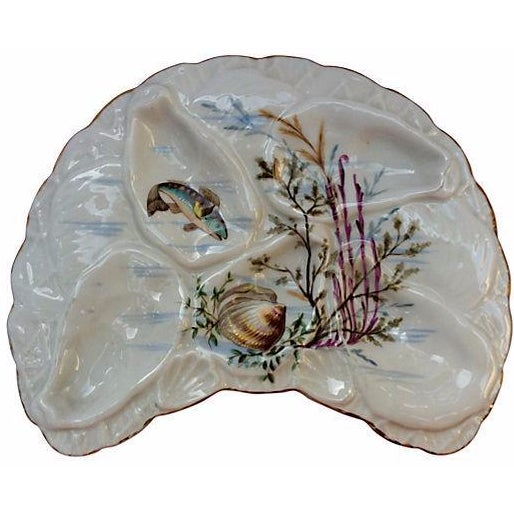 Hand-Painted French Oyster Plate - Image 1 of 8
