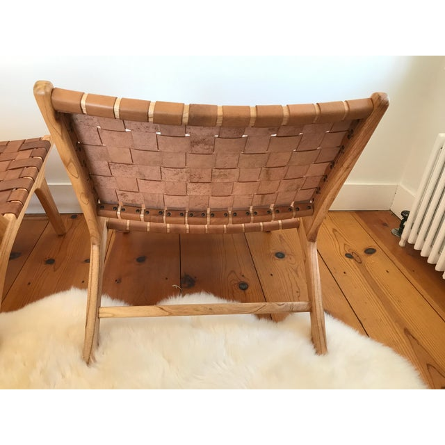 Woven Leather Lounge Chair For Sale In New York - Image 6 of 8