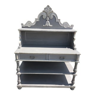 Vintage Gray Rustic French Country Cabinet For Sale