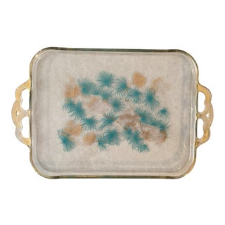 Hollywood Regency Gold Pinecone Tray For Sale