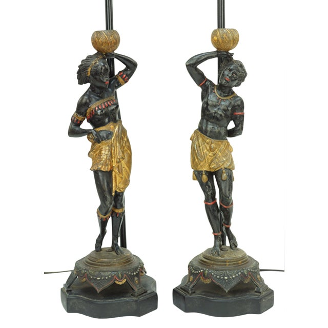 Late 19th Century Vintage Blackamoor Figures Fitted as Lamps- A Pair For Sale
