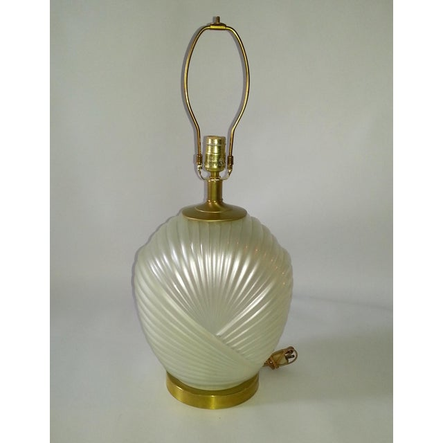 Art Deco Hollywood Regency Glass & Brass Table Lamp For Sale - Image 3 of 7