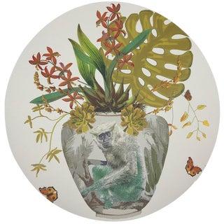 "Nicolette Mayer Monkey Large Jungle Dijon 16"" Round Pebble Placemats. Set of 4 For Sale"