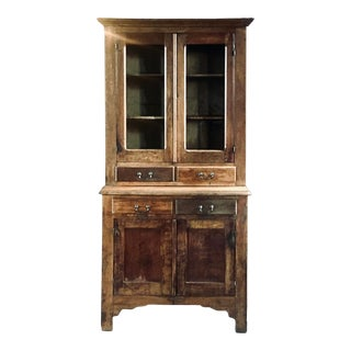 Late 19th Century Antique Oak Kitchen China Cabinet For Sale