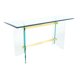 Pace Mid Century Brass and Glass Foyer Entry Console Table For Sale