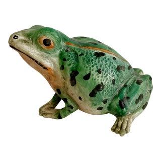 Vintage Italian Majolica Life Size Ceramic Frog For Sale