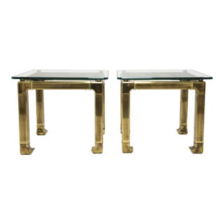 1970s Vintage Mastercraft Lacquered Brass and Glass End Tables - a Pair