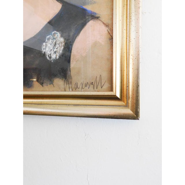 Americana 1960's Lady Portrait Pastel on Paper Drawing For Sale - Image 3 of 4