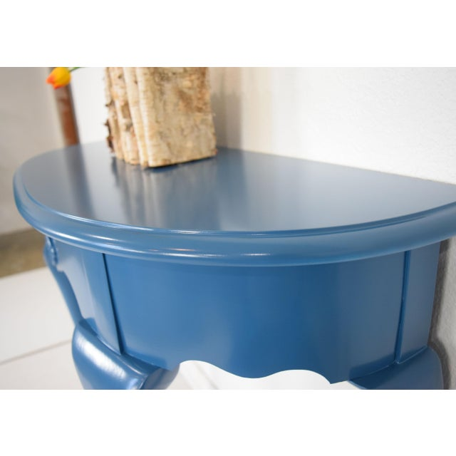 Late 20th Century Queen Anne Half-Moon Shape Blue Console Table For Sale - Image 5 of 9