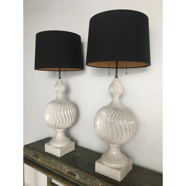 Italian Monumental Ceramic Double Gourd Lamps with Shades - a Pair For Sale - Image 3 of 12