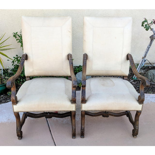 Louis XIV Hand Carved Antique Chairs - a Pair - Image 2 of 10 - Louis XIV Hand Carved Antique Chairs - A Pair Chairish
