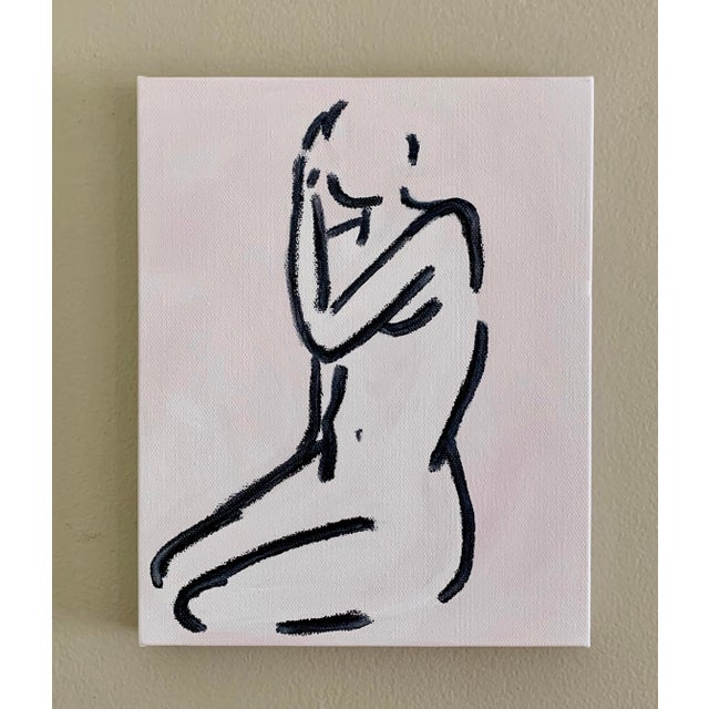 Abstract female on canvas in gold plein aire frame with linen lining, overall size 14 x 16 with 1.5 depth and 7.5 x 9.5...