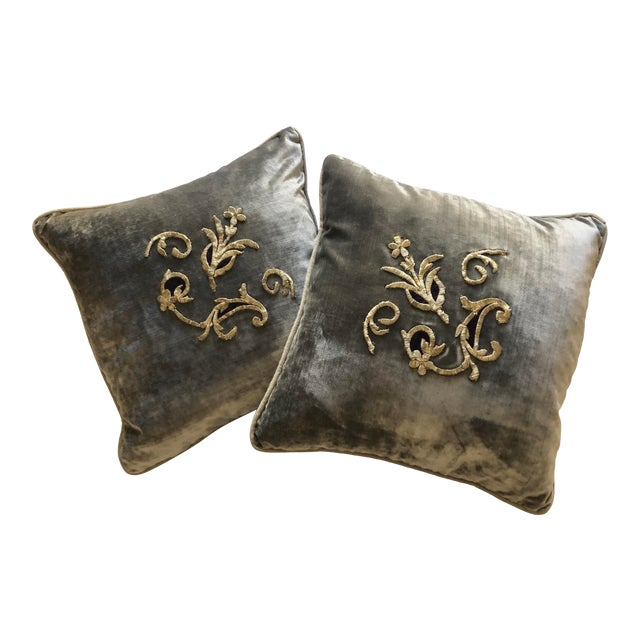 Grey Velvet Pillows Re-Designed With Antique Silver Wire Embroidery- a Pair For Sale