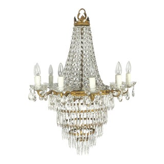 "Italian Thirteen-Light Drop Crystal Chandelier, Empire Style (26"" Diameter) For Sale"