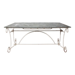 Vintage Slate Top Iron Garden Dining Table For Sale