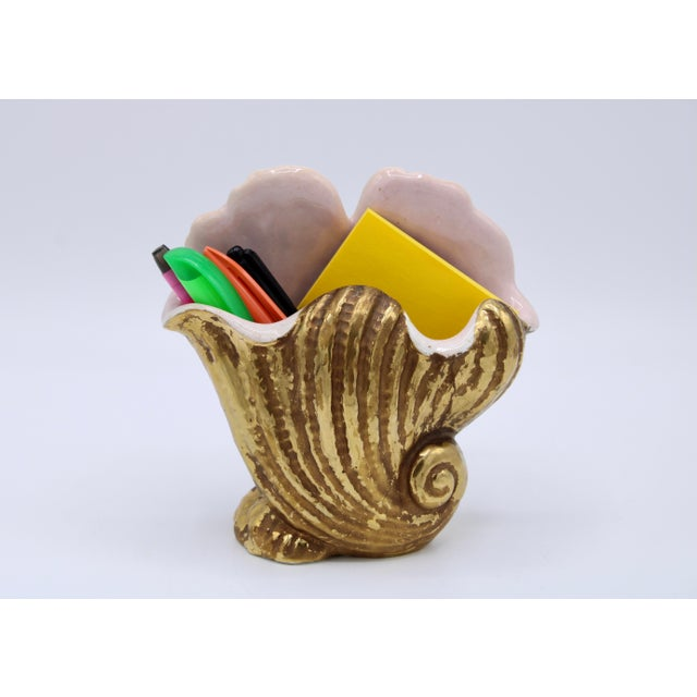 Gold Mid-20th Century Italian Ceramic Shell Cachepot Planter For Sale - Image 8 of 13