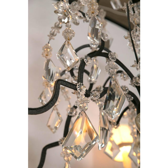 Holly Hunt Holly Hunt Wrought Iron & Crystal Chandelier For Sale - Image 4 of 10