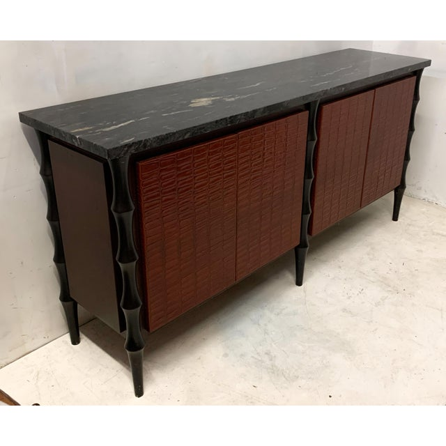 Billy Baldwin Billy Baldwin Style Faux Crocodile Credenza or Sideboard For Sale - Image 4 of 11