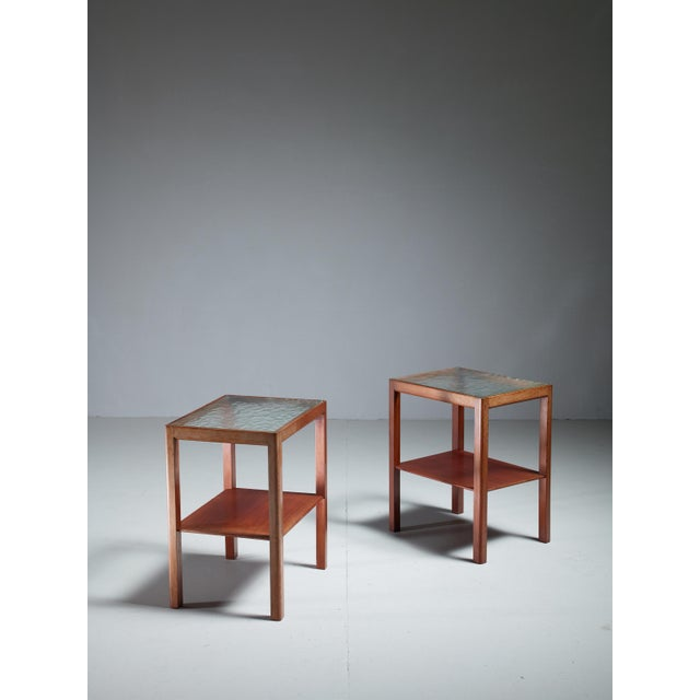 Thorald Madsen Pair of Mahogany Side Tables with Glass Top, Denmark, 1930s - Image 3 of 5