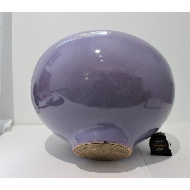 Lavender Vintage Artisan Vase Glazed Earthenware Lavender Coloration For Sale - Image 8 of 11