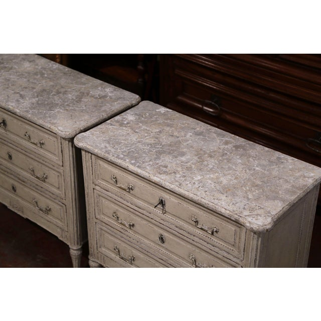 Pair of 19th Century Louis XVI Carved Painted Commodes With Faux Marble Top For Sale - Image 4 of 10