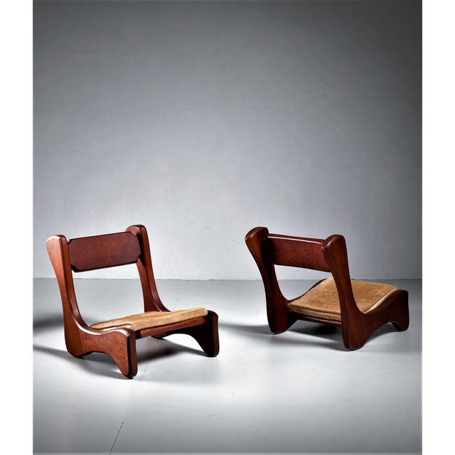 Americana Pair of American Low Pastor Chairs with Cowhide Seat Pad by John McAlevey, 1972 For Sale - Image 3 of 5