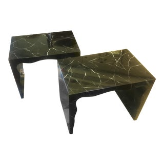 Marbled Resin Foster Bench - a Pair For Sale