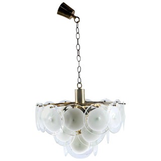 Gino Vistosi Murano Chandelier in White and Clear Glass