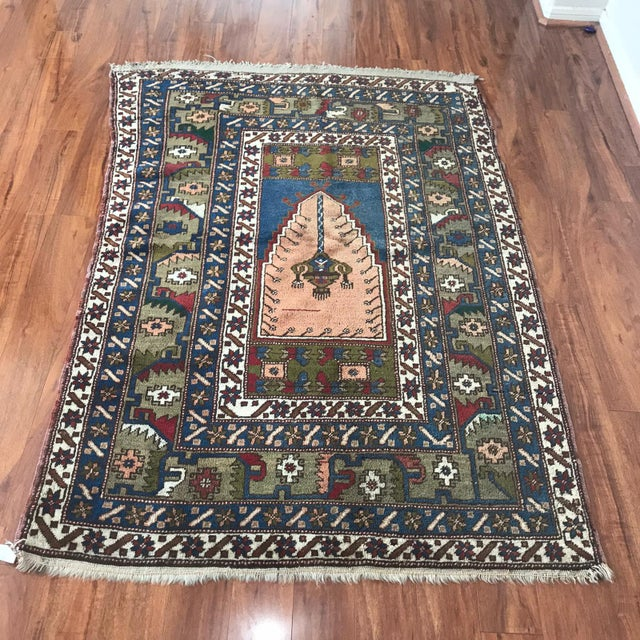1980s Antique Yahyali Pastel Tribal Rug For Sale - Image 5 of 5