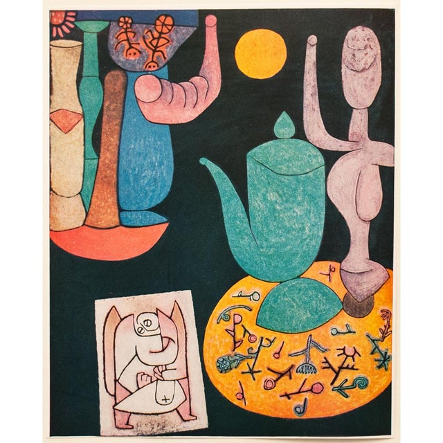 A striking vintage tipped-in lithograph after Still Life (1940) by Paul Klee. Comes from a rare art folio published in...