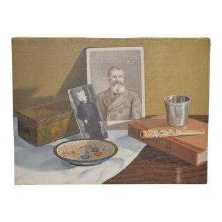 "John T. Axton III ""Family Keepsakes"" Realism Still Life Oil Painting For Sale"