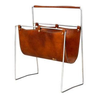 Carl Auböck II MidCentury Magazine Holder in Leather and Steel, 1950's For Sale