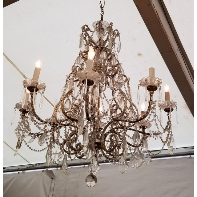 Charming large beaded Italian chandelier with original 1940's elements. Classic shabby chic style.