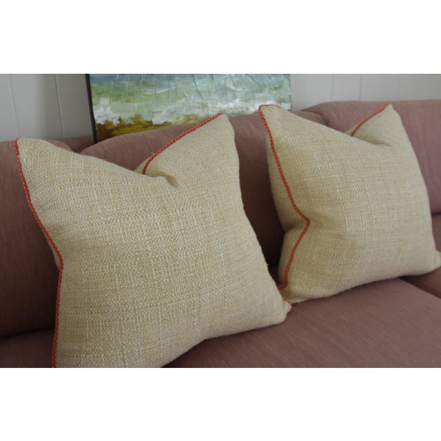 Neutral & Coral Cord Pillow Covers - a Pair - Image 3 of 7