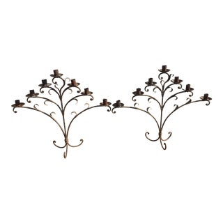 Spanish Style Iron Decorative Candlesticks - a Pair For Sale