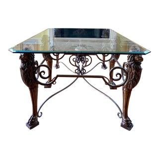Safavieh Rectangular Lion's Head Coffee Table For Sale